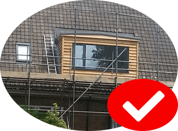 Dormer flat roof in an Essex home with scafolding